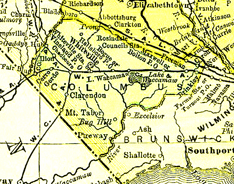 Map Of Columbus County NC  1895