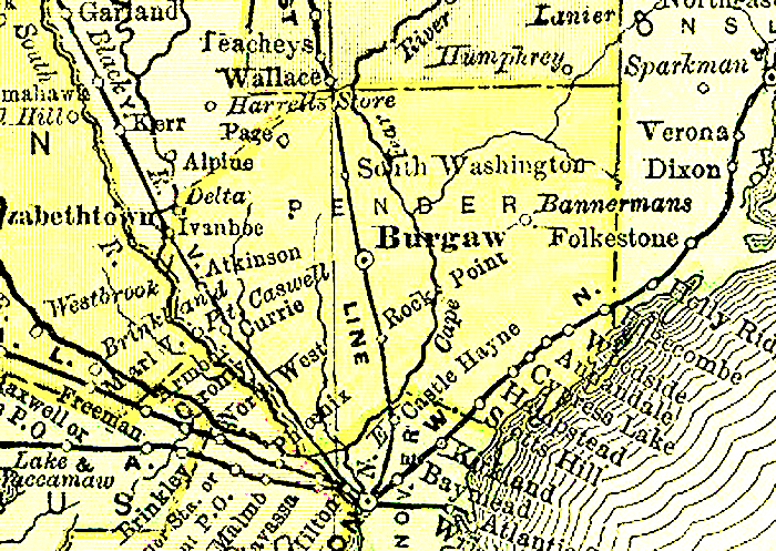 Pender County Nc Map.Pender County Map 1895